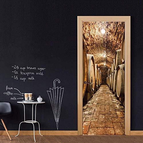 Tür Aufkleber Tapete Diy 3D Wandaufkleber Wandhauptdekor Eichenfässer Im Weinkeller Kunst Abnehmbare Tür Aufkleber Decole 77X200 Cm