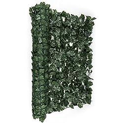 Blumfeldt Fency Dark Ivy • Sichtschutz • Windschutz • Lärmschutz • 300 x 100 cm • Efeublätter • hohe Blickdichte • kunststoffummanteltes Gitternetz • 6 x 6 cm Maschenweite • grüne Flexbinder zur Befestigung • einfache Anbringung • dunkelgrün
