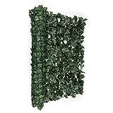 blumfeldt Fency Dark Ivy • Sichtschutz • Windschutz • Lärmschutz • 300x150 cm • Efeublätter • hohe Blickdichte • kunststoffummanteltes Gitternetz • 6x6 cm Maschenweite • grüne Flexbinder • dunkelgrün