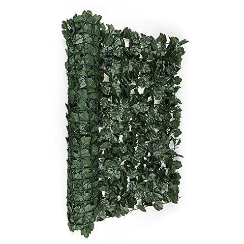 Blumfeldt Fency Dark Ivy • Sichtschutz • Windschutz • Lärmschutz • 300 x 100 cm • Efeublätter • hohe Blickdichte • kunststoffummanteltes Gitternetz • 6 x 6 cm Maschenweite • grüne Flexbinder zur Befestigung • einfache Anbringung •