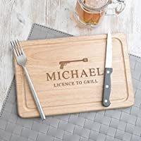Personalised Gifts for Men - 'Licence to Grill' Wooden Chopping Board - Novelty James Bond Birthday Gift for Dad for Men - 30x20cm