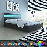 Festnight Cadres de lit Lit en bois avec LED 140 x 200 cm Cuir artificiel Noir