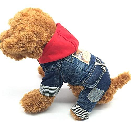 er Hund Kleidung,Katze Jean Kostüm warme Kleidung Mantel Cowboy Jacke Vier Bein Kleidung ()