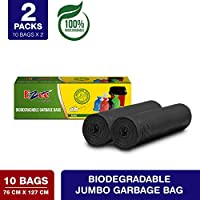 Ezee Bio-degradable Jumbo Garbage Bags/Trash Bags/Dustbin Bags (30 X 50 Inches) Pack of 2 (20 Pieces) 10 Pcs Each Pack