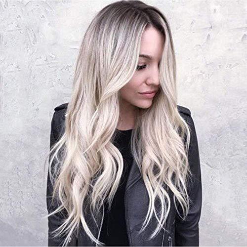 YUI Gewellt Haare Perücke Damen Perücken Braun zu Blond Ombre Hitzeresistente Synthetik Lange Lockig 72 cm (28 Zoll), 001 - Glänzendes Blond