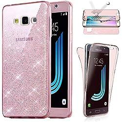 Coque Compatible avec Samsung Galaxy J3 2016, Housse Etui Gel Silicone Protection intégral 360° Paillette Rose