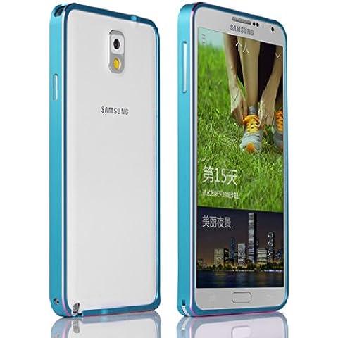 Galaxy Note 3 N9000 Funda by Casefashion, Hard Metal Bumper Frame Case [Slim Fit] Lightweight [Hippocampal Buckle] Anti-Scratch Side Protection Cover para Samsung Galaxy Note 3 N9000 - Azul, Rosa