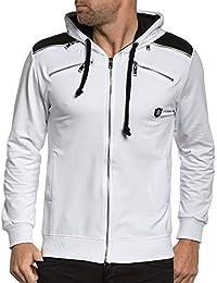 BLZ jeans - Sweat homme molleton zippé à capuche blanc