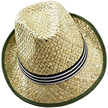 EveryHead Fiebig Sombrero De Paja Niño Fedora Verano Equinácea Moda Vacaciones  Playa Colores Banda Acanalada Para 5222d25f75d