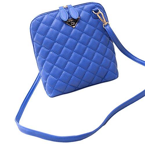 SODIAL(R) Le donne calde di vendita calde del messaggero delle donne delle coperture del plaid della borsa di cuoio delle donne di modo traspongono il sacchetto-nero Blu