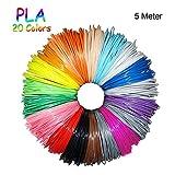 3D Stift Filament 20 Farben Fochea 1.75mm PLA Filament 3D Drucker Stift Filament für 3D Stift 3D Printing Pen ,20 PCS 5M (PLA Filament 5M)