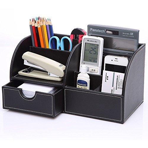 Stiftehalter Stifteköcher Stiftablage mit 6 Fächern und Schublade Stiftebox aus PU Leder Multifunktional Tisch Stifte Visitenkarten Organizer Schreibtischbox für Büro Zuhause Schwarz