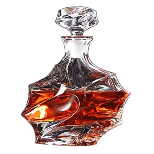 Decantadores Whisky para Vino con Tapa Sellado Enfriador De Vino Copa De Vino Sellado Botella Vacía Regalo (Color : Clear, Size : 25cm)