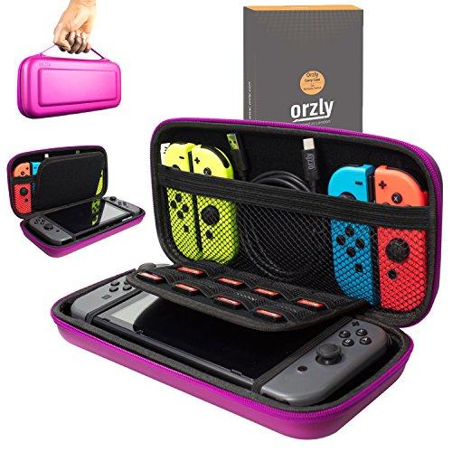 Orzly Etui Rigide en EVA pour Nintendo Switch – Housse Rigide de Rangement Zippée en Matériau Durable Anti-Choc pour la console Nintendo Switch et ses accessoires – ROSE