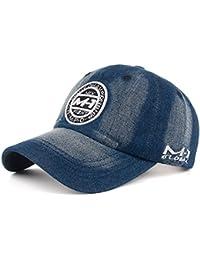 CADANIA Unisex Mujer Hombre Washed Denim Bordado Parche Vintage Trucker Hat Gorra de Béisbol Blanco