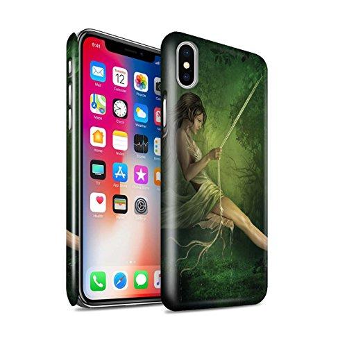 Officiel Elena Dudina Coque / Clipser Brillant Etui pour Apple iPhone X/10 / Balançoire Jardin Design / Un avec la Nature Collection Balançoire Étang