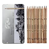 Set de 12 Crayons d'Artiste Professionnel Pour Esquisse Dessin Avec Etui Métal