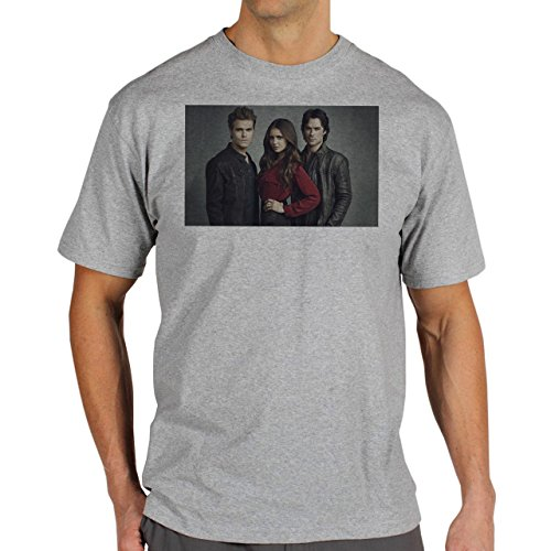 The Vampire Diares Elena Demon And Stephan Background Herren T-Shirt Grau