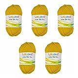 5er Pack Uni Wolle gelb 100% Polyacryl Wolle 250g, Garn zum Stricken & Häkeln, Marke: LaLuna®