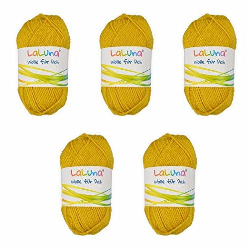 5er Pack Uni Wolle gelb 100 % Polyacryl Wolle 250g, Garn zum Stricken & Häkeln, Marke: LaLuna® - Baumwoll-mohair-garn
