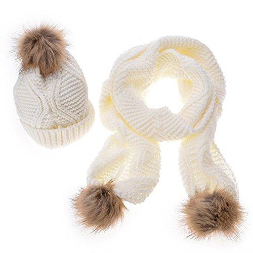 Hosaire 1 Satz von Mode Damen Warm Mütze und Schal Mädchen Winter Herbst Hüte Hut Strickmütze (Internationale Dame Satz)