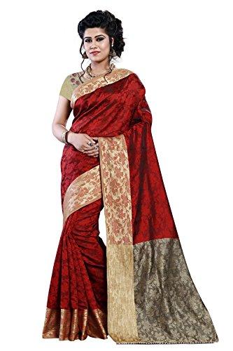 Arawins Red Jacquard Cotton Silk Half & Half Pattern Banarasi Style Sarees...