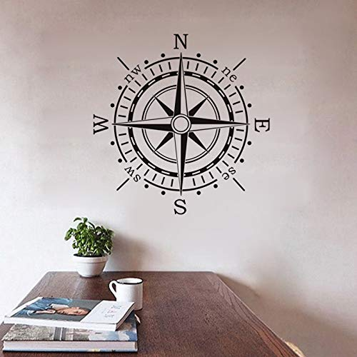Crjzty Brújula náutica Pegatinas de Pared decoración para el hogar artículos para la Creatividad niños Tatuajes de Pared de Vinilo Art Sticker 59cm X 60cm