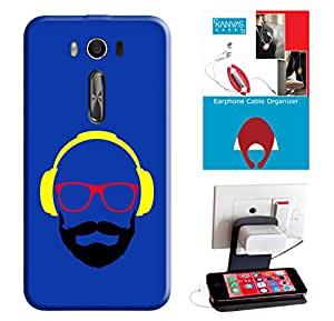 KanvasCases Printed Back Cover For Asus Zenfone 2 Laser (ZE550KL) + Earphone Cable Organizer + Mobile Charging Holder/Stand