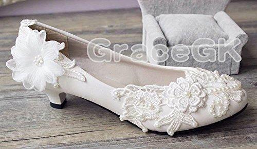 Jingxinstore Blanc Cristal Dentelle Nuptiale Chaussures De Mariage Bas Talon Blanc Pompe