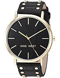 Nine West Women's Quartz Metal and Polyurethane Dress Watch, Color:Black (Model: NW/2056BKBK)