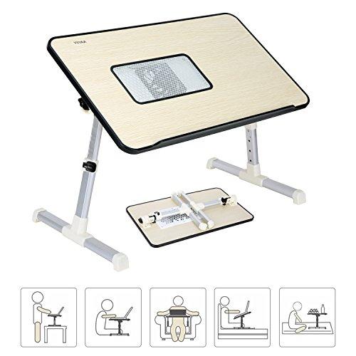 YIIYAA Verstellbarer Bett Tablett Laptop Ständer Betttisch Tragbarer Laptoptisch fürs Bett, Läptoptisch Laptopständer Klappbarer Sofa Frühstücks Tisch Notebooktisch Bücherständer Schwarz