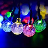 Aeeque Solar Decoration String Lights, About 20 Foot 30 LED Multicolor Bubble Drops Crystal Ball [Color] Beautiful Waterproof Safe Small Lamp for Garden, Bedroom and Christmas Party