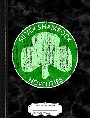 Vintage Silver Shamrock Novelties Composition Notebook: College Ruled 9¾ x 7½ 100 Sheets 200 Pages For Writing (Silver Shamrock Halloween)