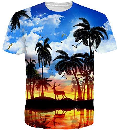 Schwarzes Hawaii-aloha-shirt (Goodstoworld 3D T Shirt Aloha Hawaii Palme Druck Herren Damen Printed Sommer Lustig Hippie Beiläufige Kurzarm T-Shirts Tshirt L)