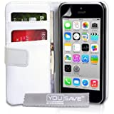 Yousave Accessories-AP-GA02 Z144 Leather Case for iPhone 5C-White