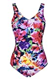 Septangle Damen Einteiliger Badeanzug Push up Swimwear Schwimmanzug Monokini für Sommer, Gefärbt EU42 D-Cup
