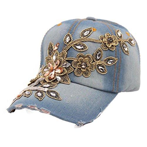Amlaiworld Neue Mode Frauen Diamond Flower Baseball Cap Sommer Stil Lady Jeans Hüte (B)