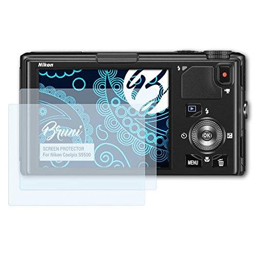 Bruni Schutzfolie kompatibel mit Nikon Coolpix S9500 Folie, glasklare Displayschutzfolie (2X) (Kamera Coolpix Nikon S9500)