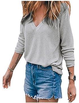 Beaii Cuello en V de las mujeres de manga larga camisetas de manga larga