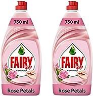 Fairy Gentle Hands Rose Petals Dishwashing Liquid Soap, 2 x 750 ml