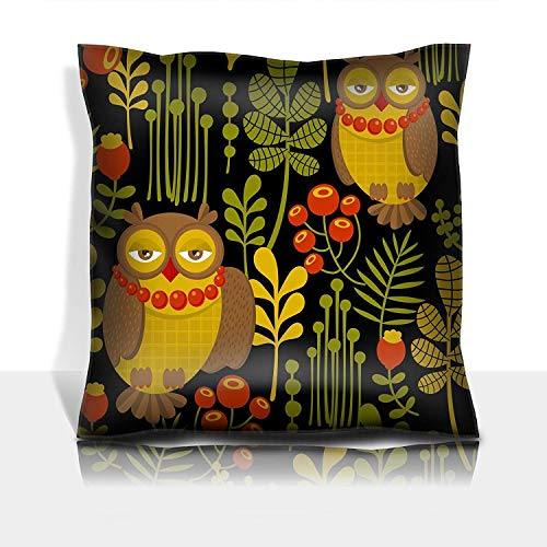 ZKHTO Throw Pillowcase Cotton Satin Comfortable Decorative Soft Pillow Covers Protector Sofa 18x18 1 Pack Seamless Pattern with Fashionable Retro Owls Vector Illustration re -