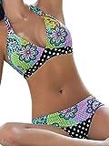 Vian Lundgaard - Damen Frauen Bikini Triangel mit Paisley Muster und Polka Dot, L, Mehrfarbig