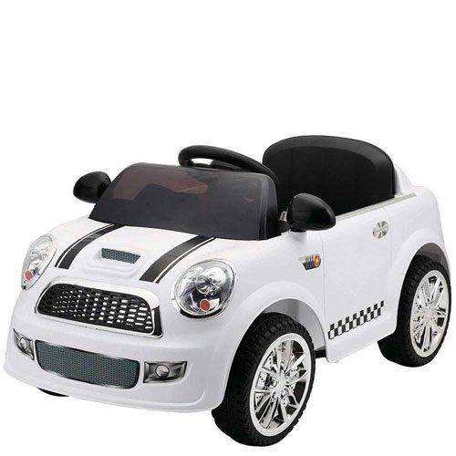 gkt Auto elettrica 12 Volt mini cooper per bambini con telecomando. Macchine elettriche colore bianco 1 posto per bimbo con radiocomando.