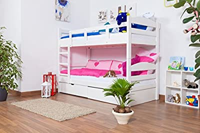 "Bunk bed / Loft Bunk bed ""Easy Sleep"" K3/n includes 2 drawers and 2 cover plates, 90 x 200 cm solid beech wood, in a white paint finish"