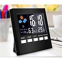 Etbotu - Reloj despertador digital con sensor de sonido multifuncional con pantalla LED de color y termómetro, higrómetro y estación meteorológica