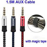 Volkswagen Cross Polo Original Aux Cable Like Car Aux Cable Stereo Audio Cable, 3.5 Mm Coiled Cable, Nylon Braided Auxiliary Audio Cable, Best Quality Lower Price Male To Male 3.5mm Aux Cable- Multicolour