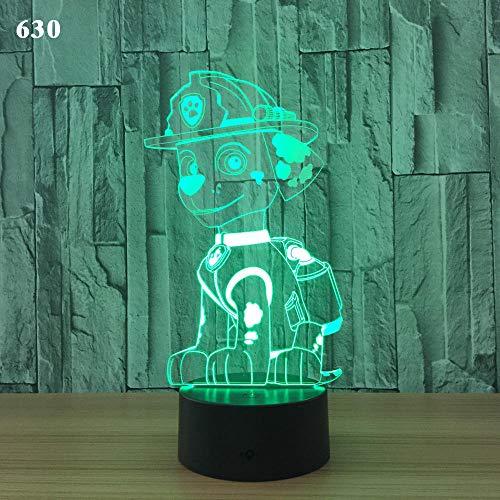 Nachtlichtacrylverkleidungsusb-Spg.Versorgungslampe 7 Des Netten Hundes 3D Der Karikatur Farbnotenfernsteuerungskindergeschenk B