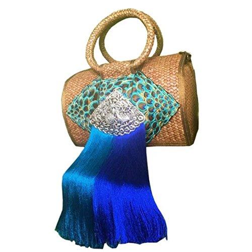 broderie à la main en tricot / armure toile de sac à main de bambou rotin paille / sacoche / Sacs portés épaule / Sacs portés main décoration 3 type brun