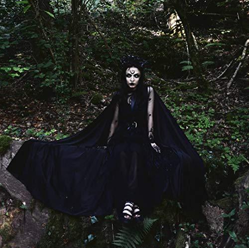 Mittelalterlicher Robe Umhang mit Kapuze schwarz, Kostüm Cape Fairytale Fantasie Mantel