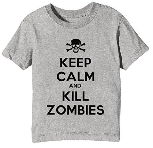 Keep Calm and Kill Zombies Kinder Unisex Jungen Mädchen T-Shirt Rundhals Grau Kurzarm Größe XL Kids Boys Girls Grey X-Large Size XL